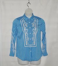 Bob Mackie Woven Pinstriped Button Front Blouse Size 1X Blue