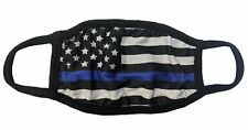 USA Flag Blue Line Police Face Mask Adult Unisex Non Medical Cotton & Polyester