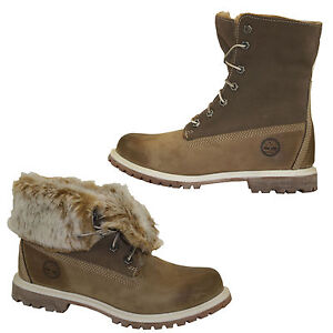 Timberland Authentics Fold Down Boots Artificial Fur Women Lace up Shoes 3758R