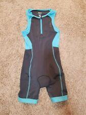 2xu Youth Large Triathlon Tri Suit Sleeveless Gray Blue Padded Bike