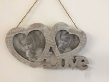 LOVE DOUBLE HEART PHOTO FRAME VALENTINE WALL HANGING 394086