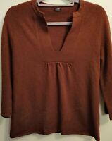 JCrew~Women's~Dream~Shirred~ Tunic~Sweater~Top~Deep v neck~Brown~Size Medium~