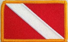 DIVER DOWN SCUBA DIVING FLAG Iron-On Patch Embroidered Gold Border  Nautical