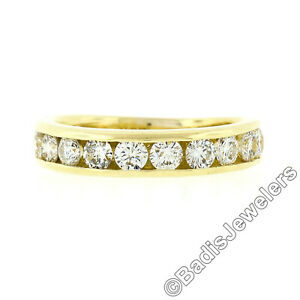 Classic 18k Yellow Gold 1.10ct Channel Round Diamond Stackable Wedding Band Ring
