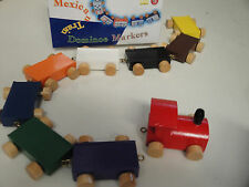 2x Wooden Choo Choo Train Toy Mexican Domino Marker Game 9pc Engine and Rail Car