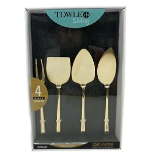 Towle Living Satin Gold Wave 4-Piece Premium Gold-Plated Cheese Server Set - NEW