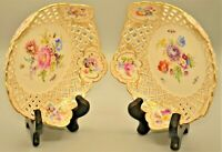 Antique Meissen Original Floral Décor Reticulated PAIR Compote Plate Dish Bowls