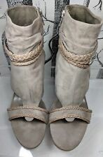 ASH Shangrila Open Toe Taupe Suede Strap pewter pearl Western Ankle Boot US 10.5