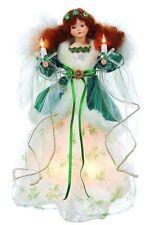 KURT ADLER 10 LIGHT WHITE & GREEN IRISH ANGEL CHRISTMAS TREE TOPPER DECORATION