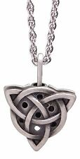 "Celtic Trinity Knot Pewter Oil Diffuser Pendant on 24"" Rhodium-Plated Chain"