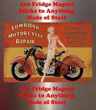 Indian Motorcycle Pin up Girl Man Cave SIGN 4x6 magnet Fridge Bar Toolbox Shop