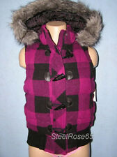 NEW Aeropostale Junior Girls Fuschia Plaid Puffer Vest Hoodie Jacket M Medium