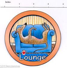 GREYHOUND DOG LYING ON SOFA PAINTING LAMINATED LOUNGE DOOR SIGN SUZANNE LE GOOD