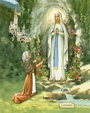 Catholic Print Picture OUR LADY LOURDES St. Bernadette ready to be framed