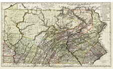 1797 PA MAP YORK ADAMS PERRY JUNIATA MIFFLIN County Old Pennsylvania SURNAMES
