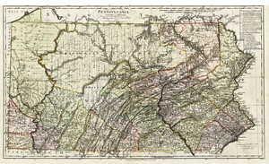 1797 PA MAP CAMBRIA BUTLER ELK FAYETTE BEAVER County Old Pennsylvania   SURNAMES