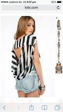 TOBI Womens NEW Xtaren Stripy Lighweight Top 10 L Black White Striped BNWOT
