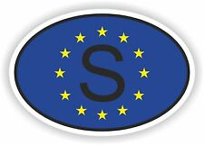 OVAL EUROPEAN UNION FLAG con S Svezia Codice paese ADESIVO MOTO AUTO