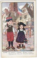"""CPA - Illustrateur HANSI - Gosses d'Alsace - On attend le """"Chénéral""""."""