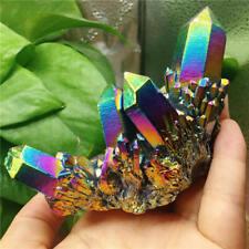 Natural Quartz Crystal Rainbow Titanium Cluster Mineral Specimen Stone
