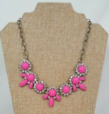 J. Crew Hot Pink & Clear Rhinestone Flower Statement Necklace - Signed
