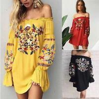 Women Bohemian Long Sleeve Short Mini Dress Embroidered One Shoulder Short Dress