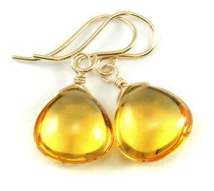Citrine Earrings Yellow Smooth Heart Teardrops Sim Simple Drop 14k Gold Sterling