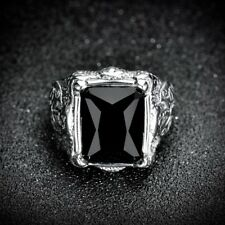 Vintage Men's Silver Stainless Steel Square Black Onyx Biker Ring Band Jewellery