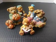 Kuddles Korner Thank You Bears Fall Autum pumpkins Home Interiors Homco 1999 Lot