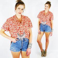 Vintage Floral Batik Print Oversize High Low Hi Lo Crop Shirt Blouse Top S M L