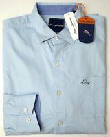 NWT $125 Tommy Bahama Light Blue LS Shirt Mens Cotton Silk Stretch Oasis Twill