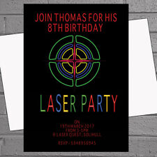 Childrens Boys Birthday Party Invitations Laser Activity Party x 12 + envs H1565