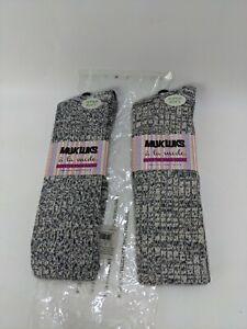 2 PAIRS Muk-luk Over The Knee Socks gray/tan blend OSFM Super Soft women's