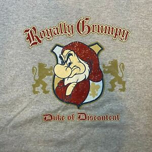 Disney Grumpy Snow White & 7 Dwarfs Royally Grumpy Men's Graphic T Shirt Size L