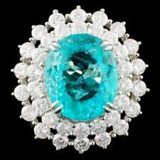 18K WGold 7.94 carat Paraiba Tourmaline Gem & 2.83ctw E-F Diamond Ring GIA CERT