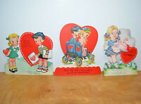 Vintage VALENTINES CARD Lot Die Cut 1950's Car Newspaper Cake A-meri-card Retro