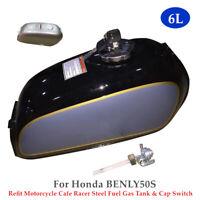 Refit Motorcycle Bike Modified Steel Fuel Gas Tank W/Cap Switch