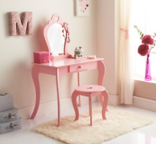 Childrens Pink Wooden Amelia Vanity Set with Stool & Mirror