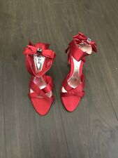 VALENTINE'S DAY LADIES DRESSY EVENING SHOES SANDALS RED SATIN WEDDING SIZE 8.5