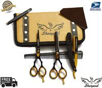 Professional Hairdressing Hair Cutting Scissors Barber Shears BLACK and GOLD