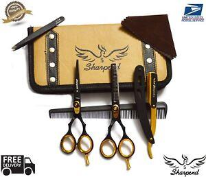 "5.5"" New Professional Barber Hairdressing Scissors Set Gold Edition & Razor Kit"