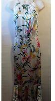 White Floral Silky Maxi Dress Size Uk 6 Marks&Spencer