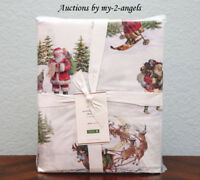 Pottery Barn NOSTALGIC SANTA Organic Queen Sheet Set *Retro Vintage Christmas