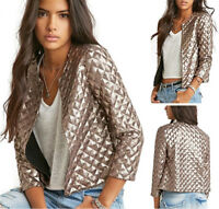 Women's Autumn Gold Sequins Short Jacket Coat Outwear Casual Clothes Tops Bomber