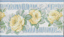 YELLOW ROSES AND BLUE RIBBON ON WHITE WALLPAPER BORDER