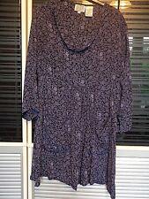 MASAI dark blue floral pattern tunic dress 100% viscose size M 12 14