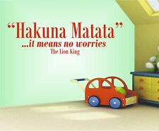 Hakuna Matata it Means no Worries The Lion King Wall art Decal Sticker