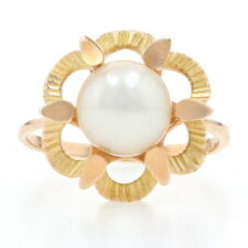 Yellow Gold Cultured Pearl Flower Solitaire Ring - 14k Ribbed