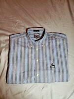 Faconnable logo Mens Dress Shirt size MEDIUM  blue gray white striped