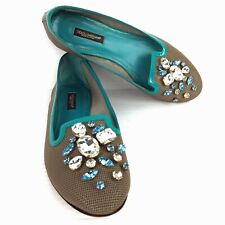 0f017e768 DOLCE   GABBANA Gray Mesh and Turquoise Leather Bejeweled Flats Size 6 (US)